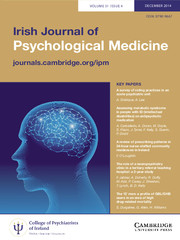 Irish Journal of Psychological Medicine Volume 31 - Issue 4 -