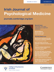 Irish Journal of Psychological Medicine Volume 36 - Issue 4 -  Psychosis: from early intervention to treatment resistance