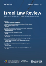 Israel Law Review Volume 47 - Issue 1 -