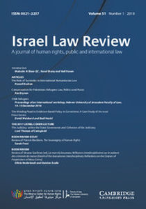 Israel Law Review Volume 51 - Issue 1 -