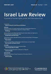 Israel Law Review Volume 52 - Issue 1 -