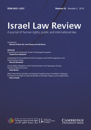 Israel Law Review Volume 52 - Issue 2 -
