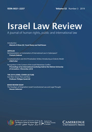 Israel Law Review Volume 52 - Issue 3 -