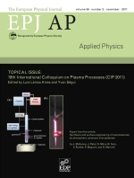 The European Physical Journal - Applied Physics Volume 56 - Issue 2 -  Topical Issue: 18th International Colloquium on Plasma Processes (CIP 2011)