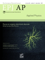 The European Physical Journal - Applied Physics Volume 56 - Issue 3 -  Focus on organic electronic devices