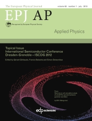 The European Physical Journal - Applied Physics Volume 63 - Issue 1 -  International Semiconductor Conference Dresden-Grenoble – ISCDG 2012