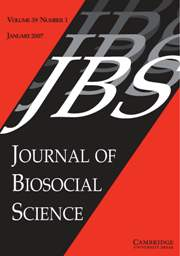 Journal of Biosocial Science Volume 39 - Issue 1 -