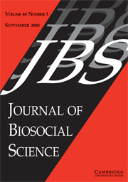 Journal of Biosocial Science Volume 40 - Issue 5 -