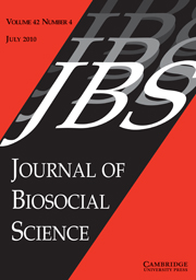 Journal of Biosocial Science Volume 42 - Issue 4 -