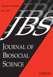 Journal of Biosocial Science Volume 45 - Issue 4 -