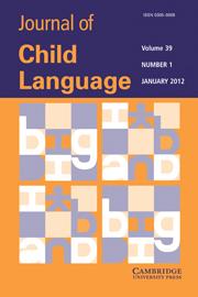Journal of Child Language Volume 39 - Issue 1 -