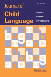 Journal of Child Language Volume 39 - Issue 5 -