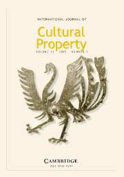 International Journal of Cultural Property Volume 12 - Issue 1 -