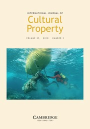 International Journal of Cultural Property Volume 25 - Issue 3 -