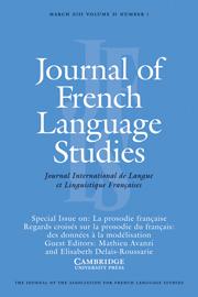 Journal of French Language Studies Volume 21 - Issue 1 -  La prosodie française Regards croisés sur la prosodie du français: des données à la modélisation