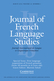 Journal of French Language Studies Volume 22 - Issue 1 -  First language acquisition of French grammar (from 10 months to 4 years old)