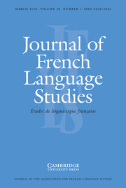Journal of French Language Studies Volume 29 - Issue 1 -