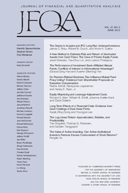 Journal of Financial and Quantitative Analysis Volume 47 - Issue 3 -