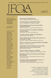 Journal of Financial and Quantitative Analysis Volume 48 - Issue 5 -