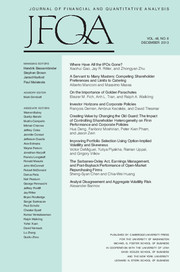 Journal of Financial and Quantitative Analysis Volume 48 - Issue 6 -
