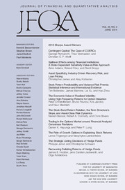 Journal of Financial and Quantitative Analysis Volume 49 - Issue 3 -
