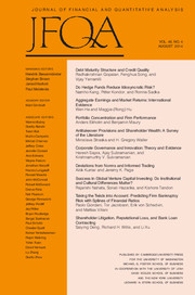 Journal of Financial and Quantitative Analysis Volume 49 - Issue 4 -