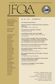 Journal of Financial and Quantitative Analysis Volume 50 - Issue 5 -