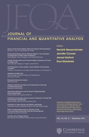 Journal of Financial and Quantitative Analysis Volume 54 - Issue 6 -