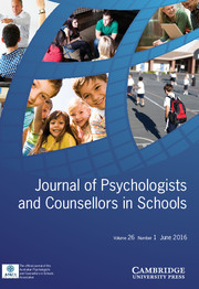 Journal of Psychologists and Counsellors in Schools Volume 26 - Issue 1 -