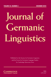 Journal of Germanic Linguistics Volume 22 - Issue 4 -  SPECIAL ISSUE: DUTCH BETWEEN ENGLISH AND GERMAN