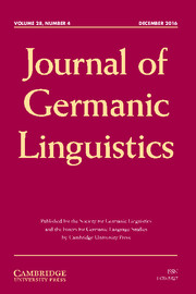 Journal of Germanic Linguistics Volume 28 - Special Issue4 -  New Directions in Comparative Germanic Linguistics