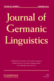 Journal of Germanic Linguistics Volume 30 - Issue 4 -