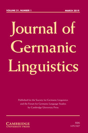Journal of Germanic Linguistics Volume 31 - Issue 1 -