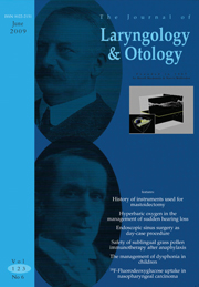 The Journal of Laryngology & Otology Volume 123 - Issue 6 -