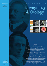 The Journal of Laryngology & Otology Volume 123 - Issue 7 -