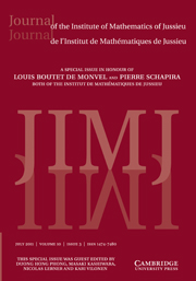 Journal of the Institute of Mathematics of Jussieu Volume 10 - Issue 3 -  A Special Issue in Honour of Louis Boutet de Monvel and Pierre Schapira