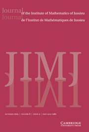 Journal of the Institute of Mathematics of Jussieu Volume 8 - Issue 4 -