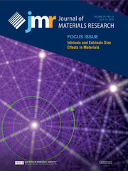 Journal of Materials Research Volume 34 - Issue 13 -  Focus Issue: Intrinsic and Extrinsic Size Effects in Materials