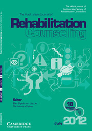 The Australian Journal of Rehabilitation Counselling Volume 18 - Issue 1 -