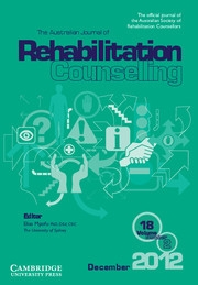 The Australian Journal of Rehabilitation Counselling Volume 18 - Issue 2 -