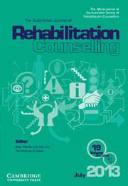 The Australian Journal of Rehabilitation Counselling Volume 19 - Issue 1 -