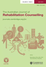 The Australian Journal of Rehabilitation Counselling Volume 21 - Issue 1 -