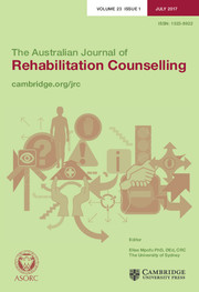 The Australian Journal of Rehabilitation Counselling Volume 23 - Issue 1 -