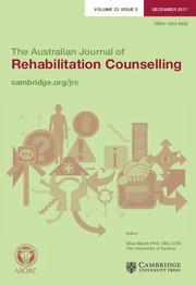 The Australian Journal of Rehabilitation Counselling Volume 23 - Issue 2 -