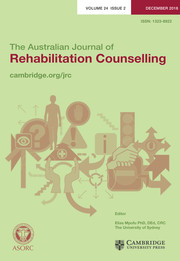 The Australian Journal of Rehabilitation Counselling Volume 24 - Issue 2 -