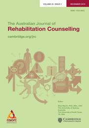 The Australian Journal of Rehabilitation Counselling Volume 25 - Issue 2 -