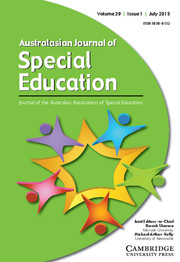 Australasian Journal of Special and Inclusive Education Volume 39 - Issue 1 -