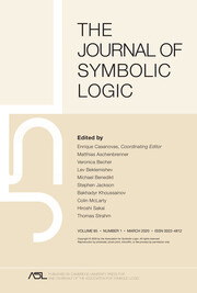 The Journal of Symbolic Logic Volume 85 - Issue 1 -