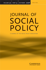 Journal of Social Policy Volume 37 - Issue 4 -