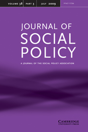 Journal of Social Policy Volume 38 - Issue 3 -